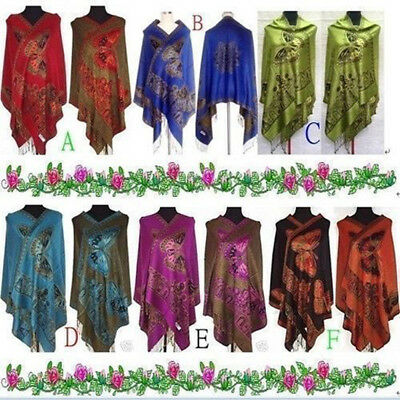 Fashion Chinese Lady Double Sided Butterfly Pashmina Scarf Wrap Shawl Cape New