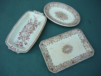 Old T&R Boote Royal Premium Pickle Trays Tournay Brown Transferware
