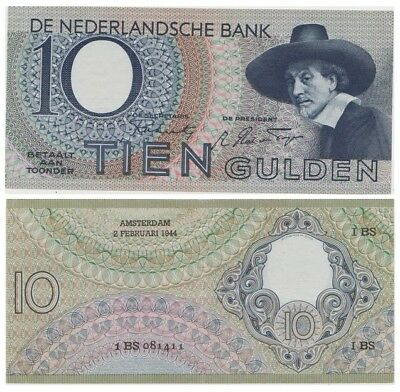 Ten Guldens Dutch banknote issued in 02.03.1944 1BS xf