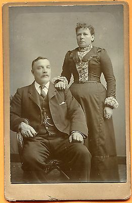 Portrait of Man and Wife, Old Cabinet Card, circa 1890s