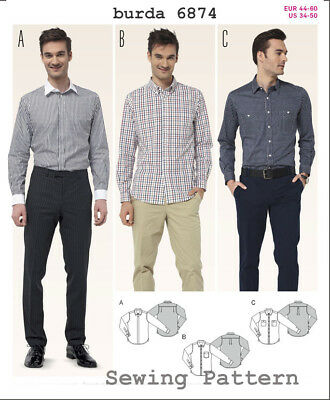 Burda 6874 SEWING PATTERN Men Long Sleeve Shirts Formal Special Occasion S 34-50