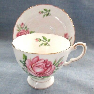 Tea Cup And Saucer Tuscan English Bone China Made In England Birthday Flowers