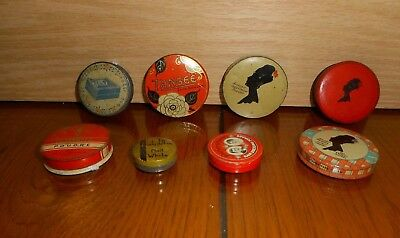 8 OLD Advertising Tins of Face Powder, Nail White & Rouge Tangee Armand Nadine