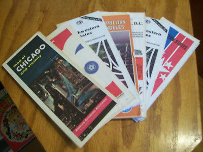 vintage lot 7 1960s-70s advertising Chicago, Los Angeles Wash DC... Travel maps