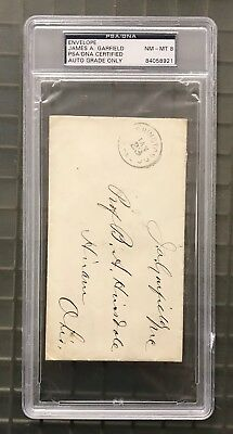 President James A. Garfield Signed Envelope PSA/DNA 8 NM-MT Autographed AUTO