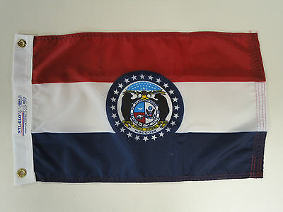 """Missouri State Indoor Outdoor Dyed Nylon Boat Flag Grommets 12"""" X 18"""""""