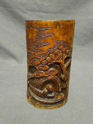 "Antique Hand Carved Chinese Bamboo 5.5"" Brush Pot"