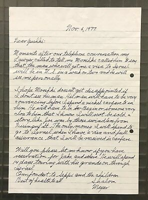 Meyer Lansky Signed 1977 Handwritten Letter Autographed AUTO Mobster Accountant