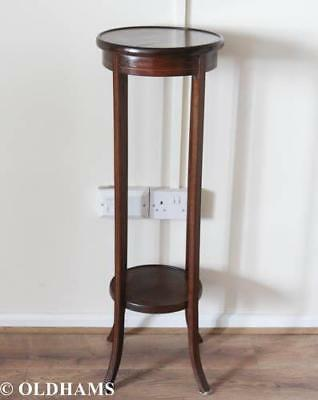 Lovely Circular Antique Mahogany Plant Stand with Shelf
