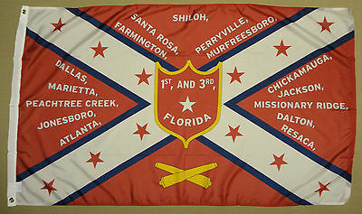 1st & 3rd Florida Vols 1865 CSA Historical Indoor Outdoor Dyed Nylon Flag 3'X5'