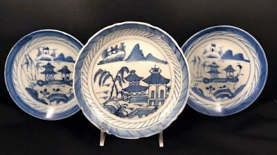 3 Antique Chinese Export Blue & White Canton Plates or Saucers - N/R