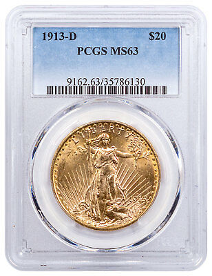 1913-D Saint-Gaudens $20 Gold Double Eagle PCGS MS63 SKU55214