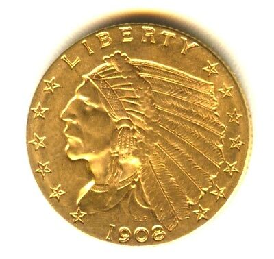 1908 P Indian Quarter Eagle MS $2.50 Gold Uncirculated+++ Key Date