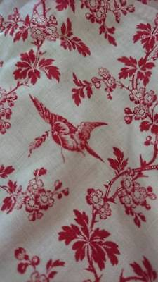 SWEET LONG PANEL ANTIQUE FRENCH PRINTED COTTON FABRIC c1880 SWALLOWS HIRONDELLE