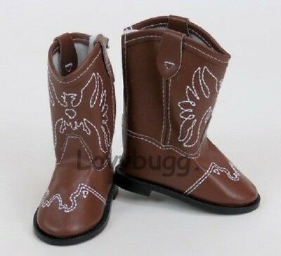 """Brown Western Cowgirl Cowboy Boots for American Girl 18"""" Doll Shoes by Lovvbugg!"""