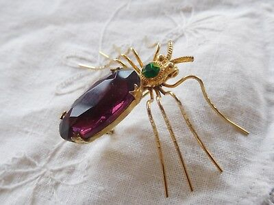 Fabulous HUGE Vintage 1950s Purple Crystal SPIDER Brooch