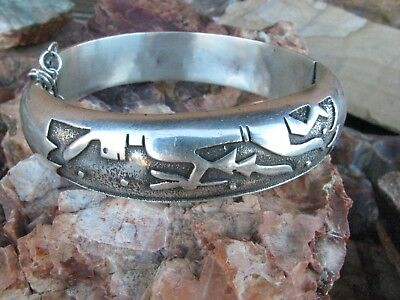 Native American Overlay Yei Dancer Hinged Bangle Bracelet Sterling Silver Pawn