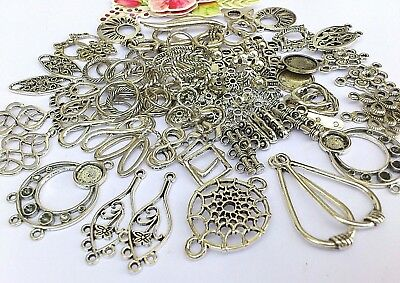 125 x Alloy Rhombus, Heart Swirl, Infinity Connectors & Rings,Spacers *to clear*
