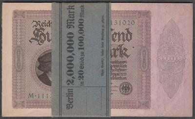 20 German 100,000 Mark Reichsbanknotes Sequential Serial # in Bank Wrapper