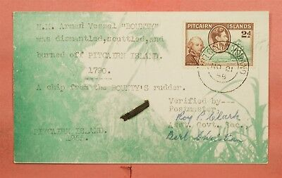 1955 Pitcairn Islands Chip From Hm Bounty Ship Dismantling Signed Pc