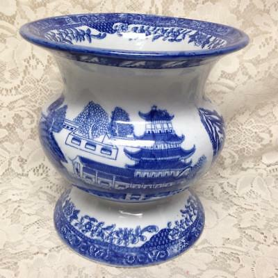 Ironstone, Large Variant Blue Willow Cupsidor, Planter or Vase 8.5in x 8.5in