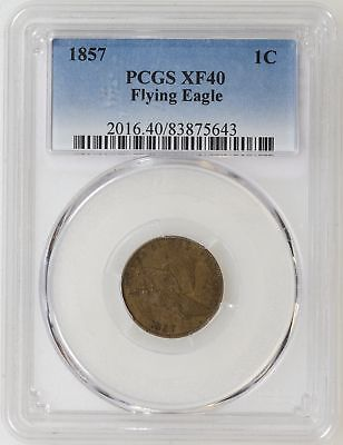 1857 PCGS XF40 Flying Eagle Penny Cent Nice Color & Strike - I-14398