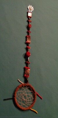 Native American Beaded Dream Catcher Pendent Bamboo Coral-Red Bk Agate