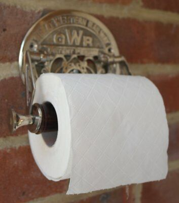 Victorian style GWR brass plated decorative toilet roll holder