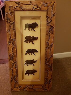 African Hand Carved Animals In A Wooden Hand Carved Frame New