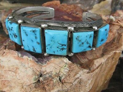 Vintage Old Navajo Pawn Turquoise Square Cut Row Bracelet Sterling Silver Cuff