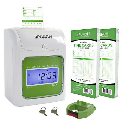 uPunch Time Clock Bundle with 100 Cards, 1 Ribbons, 2 Keys