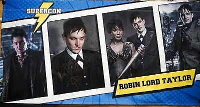"""Robin Lord Taylor Signed Supercon Banner """"GOTHAM """" 100% Proceeds to Charity"""