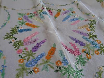 """Beautiful Coloured Lupins Hand Embroidered Vintage Linen Tablecloth, 32"""" Square"""