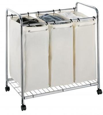 Organize It All 3 Section Chrome Hamper With Canvas  1763