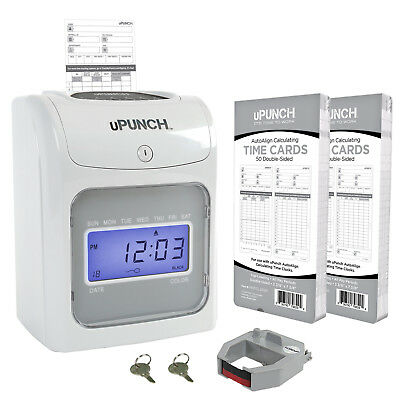CALCULATING uPunch Time Clock Bundle with 100 Cards, 1 Ribbon and 2 Keys