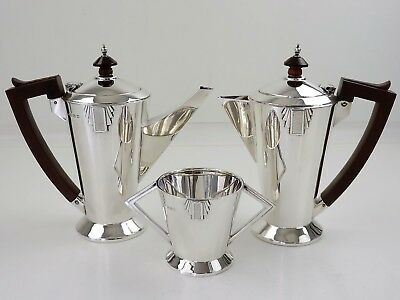 Terrific ART DECO SILVER CAFE AU LAIT SET, Birmingham 1933/4 coffee service 848g