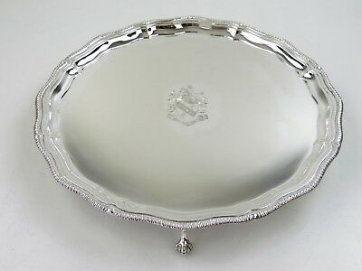 "Fine SILVER SALVER with Coat of Arms, Sheffield 1966 ""Spes Mea in Deo"" TRAY 620g"