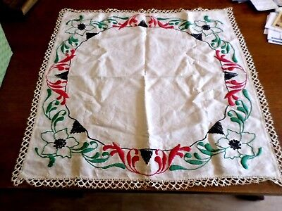 "Vintage Arts and Crafts Hand Embroidered Tablecloth~ 24"" X 24"" w/ 1"" Lace Edge"