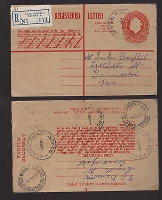 Tasmania 1961 pre-paid embossed registered cover BEACONSFIELD to Launceston