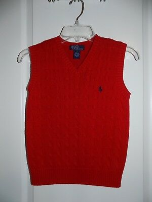 RALPH LAUREN Boys Red Cable Knit Sweater Vest Sz Small 8 EUC Holiday Christmas
