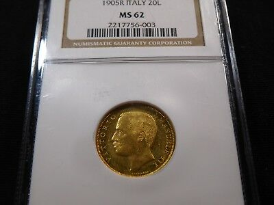 U4 Italy 1905-R GOLD 20 Lire NGC MS-62 Catalog Value UNC=$3k