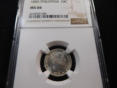 U9 Philippines 1885 10 Centavos NGC MS-66 Extremely RARE This Nice