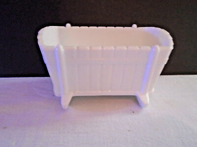 Vintage 1950`s White Milk Glass Baby Cradle Bassinet Crib Candy Dish Planter