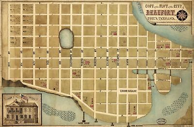 A4 Reprint of Map Mid 1800's Plot Of The City Of Beaufort South Carolina
