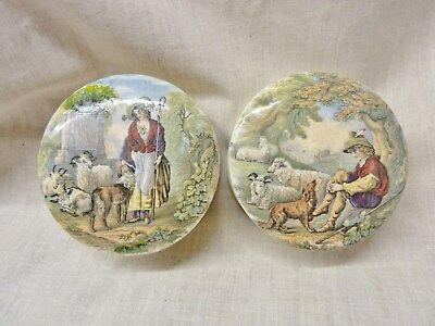 lovely pair of prattware pots and lids shepherd and shepherdess colourful pots