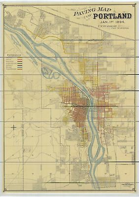 A4 Reprint of Old Maps 1894 Paving Map Portland Oregon