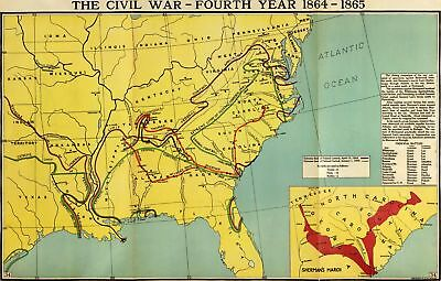 A4 Reprint of Old Maps Civil Wap Map Fourth Year 1864 1865 Reprint