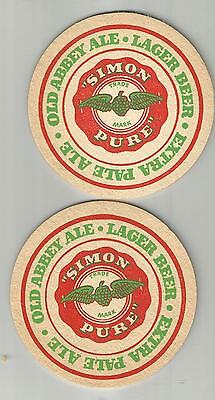 Pair of 1950's Simon Pure Beer & Ale Coasters-Simon Of Buffalo, NY #008