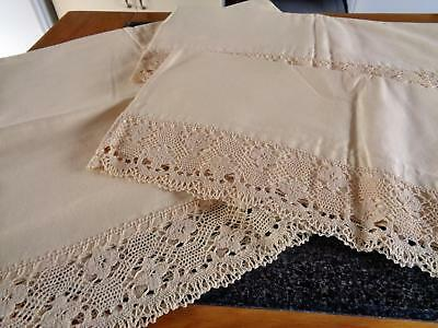 Heavy Cotton Unused Antique/vintage Pillowcases & Matching Bolster Case, Lace