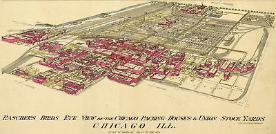 A4 Reprint of Map 1800s Chicago Packing Houses & Union Stock Yards